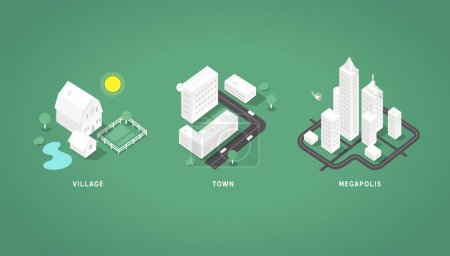Set of the isometric city buildings.