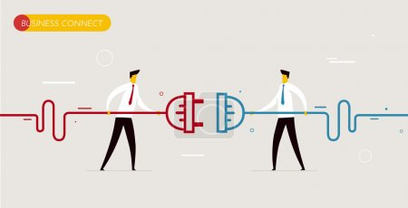 Illustration for Businessmen connect connectors. Cooperation interaction. Vector illustration Eps 10 file. Success, Cooperation - Royalty Free Image