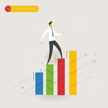 Businessman climbing graph, career success