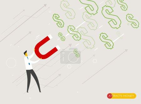 Businessman magnet attracts money