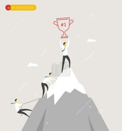 Businessman climbs the mountain, cup in hand. Winning success hard way.
