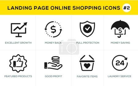 Illustration pour Icônes de conception de ligne plate achats en ligne, e-commerce m-commerce services, procédure de paiement, support, processus de livraison, procédure de commande en ligne, bannière de site Web et page de renvoi - image libre de droit