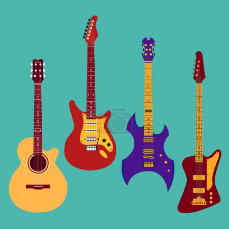 Set of different guitars.