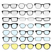 Vector set of different glasses on white background Retro wayfarer aviator geek hipster frames Man and women eyeglasses and sunglasses silhouettes