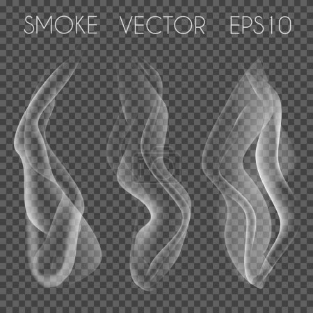 Vector set of transparent realistic white grey smoke