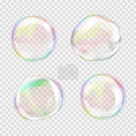 Illustration for Set of multicolored transparent soap bubbles with glares, highlights and gradients. Custom shapes and colors. EPS 10 vector illustration on light gray background. For your design and business - Royalty Free Image