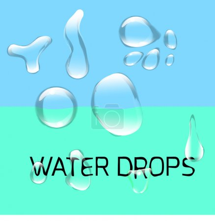 Transparent water drop set on green blue background