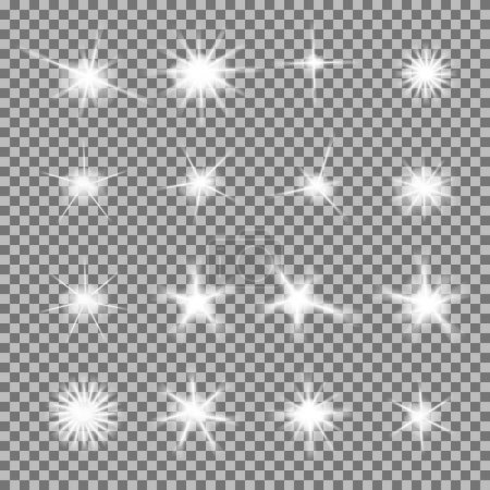 Vector set of glowing light bursts with sparkles on transparent background