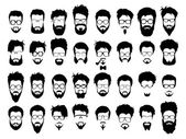 Vector set of hipster style haircut glasses beard mustache
