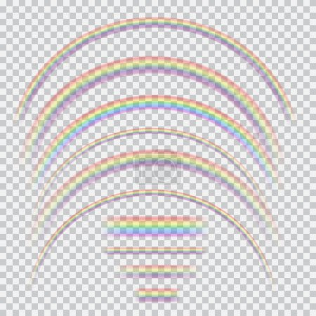 Vector set of different realistic transparent rainbows
