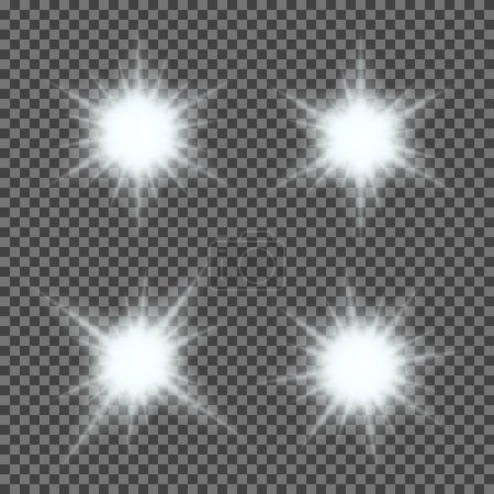 Illustration for Vector set of glowing light bursts with sparkles on transparent background. Transparent gradient stars, lightning flare. Magic, bright, natural effects. Abstract texture for your design and business - Royalty Free Image
