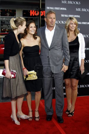 Photo for Lily Costner, Annie Costner, Kevin Costner, Christine Baumgartner at Los Angeles Premiere of Mr Brooks held at the Graumans Chinese Theater in Hollywood, CA on May 22, 2007 - Royalty Free Image