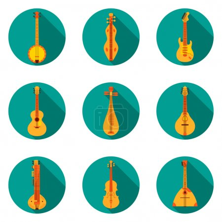 Classical Music Instruments Flat Icons Vector Illustration. Flat design illustration with various icons of instruments: banjo, dulcimer, electric guitar, acoustic guitar, lute, mandolin, sitar etc.