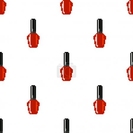 Red nail polish seamless vector pattern. Design for fabric. Pixel art.
