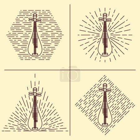 Lute logo. Vintage styled vector illustration. Vector clip art. Retro design element for music store packaging, studio or t-shirt design.