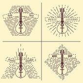 Mandolin logotype Vintage styled vector illustration Vector clip art Retro design element for music store packaging studio or t-shirt design