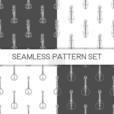 Four seamless vector patterns. Music background with illustration of sitar, dulcimer, banjo and mandolin. Design element for music store or studio packaging, or t-shirt design.