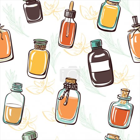 Illustration for Hand drawn vector set of doodle bottles with essential oil, Collection of glass vials and flasks on background - Royalty Free Image