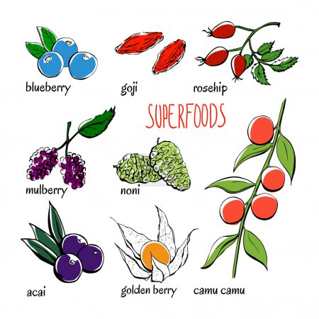different superfoods products