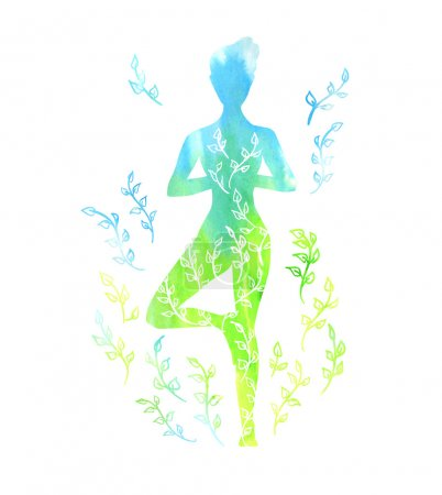 silhouette of yoga woman