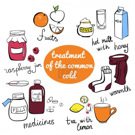 Illustration pour Éléments vectoriels de doodle Traitement du rhume. Collection d'objets isolés dessinés à main levée colorés . - image libre de droit