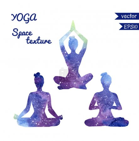 Illustration for Set of vector shapes of yoga women with bright watercolor space texture. Collection of three girl silhouettes meditating in lotus position - Padmasana. - Royalty Free Image