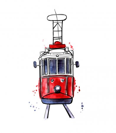 Illustration for Vector illustration of traditional turkish public transport. Hand drawn famous Istanbul tram. Black outline and colorful texture with splashes, curtains and drips. Isolated on white background. - Royalty Free Image