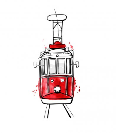 Illustration for Vector illustration of traditional turkish public transport. Hand drawn famous Istanbul tram. Black outline and red watercolor texture with splashes, curtains and drips. Isolated on white background. - Royalty Free Image