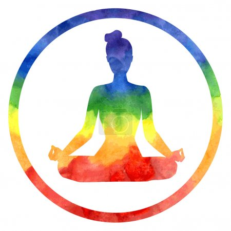 Lotus pose in rainbow colours.