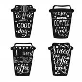 Set of black coffee cups with lettering