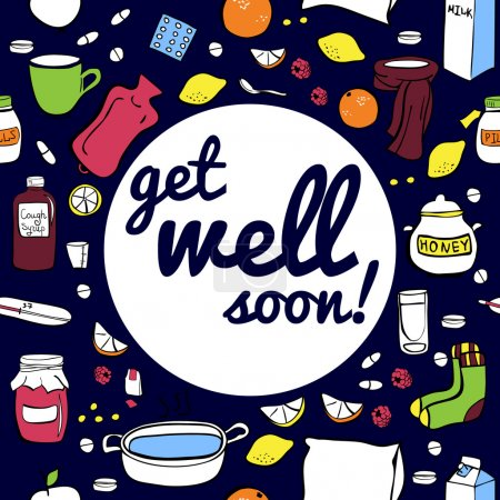 Get well soon on dark background
