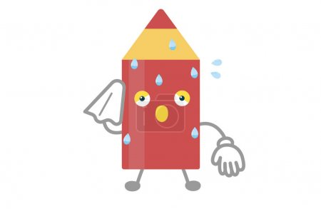 Illustration for Cute red pen character sweating vector illustration - Royalty Free Image