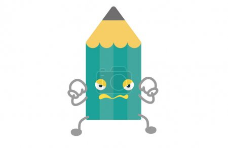 Illustration for Cute pencil character withstand Vector Illustration - Royalty Free Image