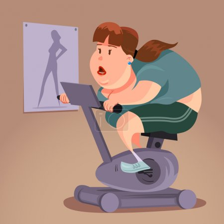 Illustration for Fat woman on exercise bike, fitness, cartoon illustration, character, vector illustration - Royalty Free Image