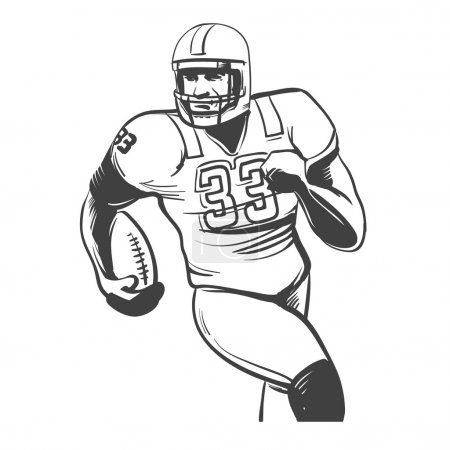 Illustration for American football players vector illustration inking on isolated white background - Royalty Free Image