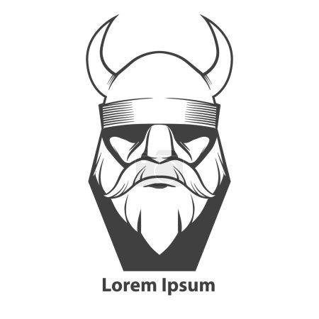 Illustration pour Illustration simple pour logo, tête viking, vue de face, en colère, équipe sportive - image libre de droit