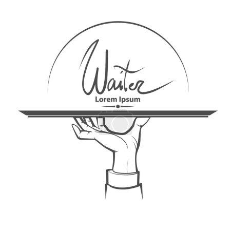 Illustration pour Serveur, main humaine avec plateau, illustration simple - image libre de droit