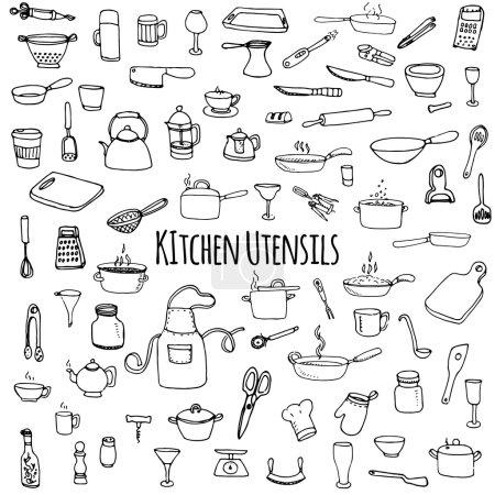 Hand drawn doodle Kitchen utensils set Vector illu...