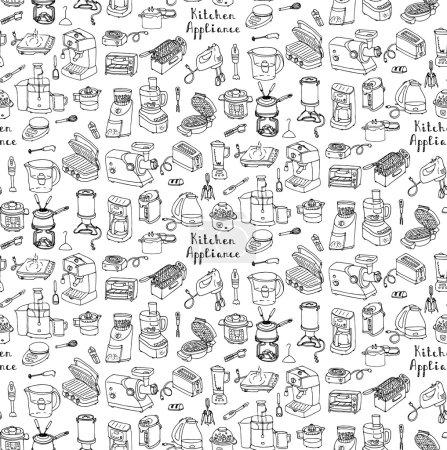 Illustration pour Fond sans couture dessiné à la main doodle Appareil de cuisine illustration vectorielle Icônes de bande dessinée ensemble Equipement ménager Petits appareils de cuisine Électronique grand public Ustensiles de cuisine Croquis vectoriel à main levée - image libre de droit