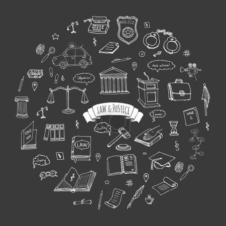 Illustration pour Jeu d'icônes dessinées à la main Droit et justice Illustration vectorielle droit collection de symboles croquis Éléments conceptuels du droit de la bande dessinée adaptés aux infographies, aux sites Web et aux médias imprimés. icônes noir et blanc - image libre de droit