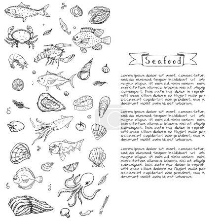 Illustration for Hand drawn doodle Seafood icons set Vector illustration seafood symbols collection Cartoon fish Crab Seafood platter Lobster Oyster Shrimp Shellfish Shrimp on white background for your menu or design - Royalty Free Image