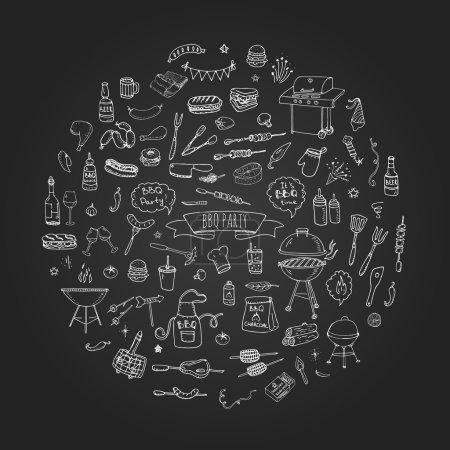 Illustration pour Dessiné à la main doodle BBQ partie icônes ensemble vectoriel illustration été barbecue symboles collection Dessin animé divers repas, boissons, ingrédients et éléments de décoration sur fond blanc Croquis - image libre de droit