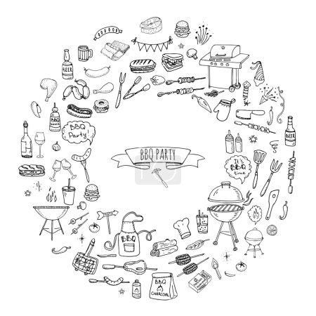 Illustration pour Dessiné à la main doodle BBQ partie icônes ensemble vectoriel illustration été barbecue symboles collection Dessin animé divers repas Boisson Ingrédients et éléments de décoration sur fond noir Croquis Jour de l'indépendance - image libre de droit