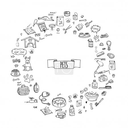 Illustration pour Doodle dessiné à la main Animaux trucs et fournitures icônes ensemble. Illustration vectorielle. Collection de symboles Vet. Éléments d'entretien pour chiens et chats : chenil, laisse, nourriture, patte, bol, os et autres articles pour animalerie - image libre de droit