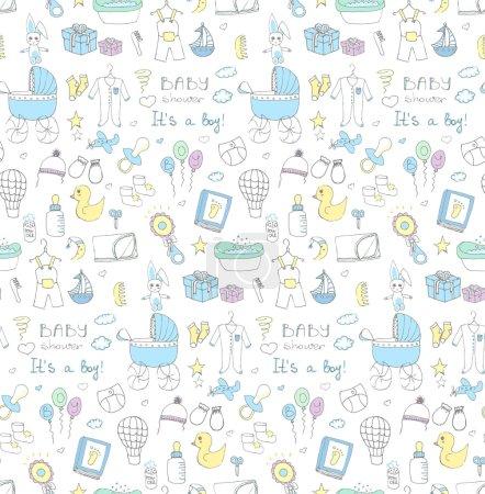 Photo pour Fond sans couture des icônes vectorielles d'illustration de douche de bébé, éléments de soins de bébé dessinés à la main, c'est un enfant icônes de conception de garçon vêtements de garçon, jouet, bavoir, couche, chariot, chaussettes, biberon, pied de bébé - image libre de droit