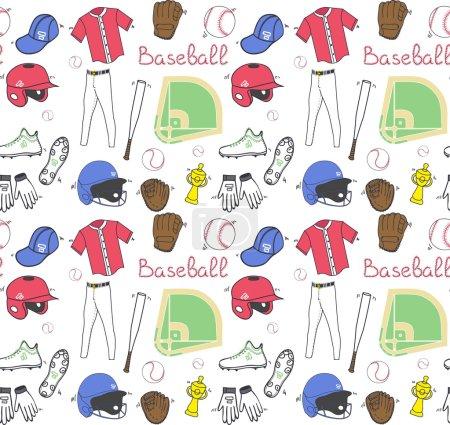 Baseball set seamless background