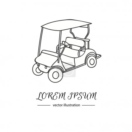 Hand drawn icon of golf cart