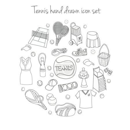 Illustration for Tennis equipment set, hand drawn vector illustration - Royalty Free Image