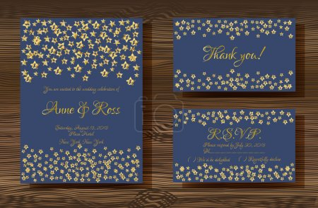 Illustration for Unique vector wedding cards template with gold glitter texture decoration on wood texture background, Wedding invitation or save the date, RSVP and thank you card for bridal design, trendy gold style - Royalty Free Image