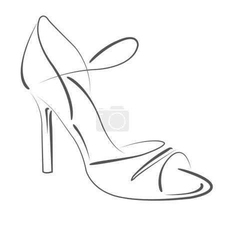 Photo pour Chaussure de femme esquissée de s. Modèle de conception d'étiquette, bannière ou une carte postale. Illustration de raster. - image libre de droit